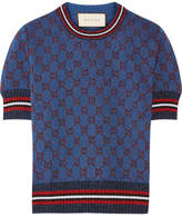 Gucci Metallic Jacquard-knit Sweater - Blue