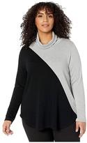 Karen Kane Plus Plus Size Contrast Turtleneck Sweater (Light Gray/Black) Women's Clothing