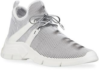 Prada Men's Striped Knit Lace-Up Sneakers