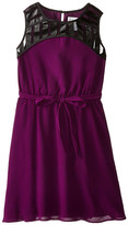 Us Angels Crinkled Chiffon Sleeveless Illusion w/ Tie Belt & Full Skirt (Big Kids)