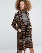 Helene Berman Becca Tie Waist Coat in Brown and Beige Stripes