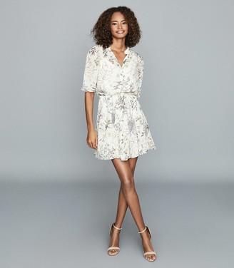 Reiss Naomi - Floral Flippy Mini Dress in Cream