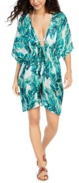 J Valdi Leaf-Print Kimono Cover-Up Women's Swimsuit