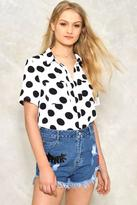 Nasty Gal nastygal Dot in the Act Short Sleeve Blouse