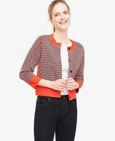 Ann Taylor Leaf Jacquard Sweater Jacket