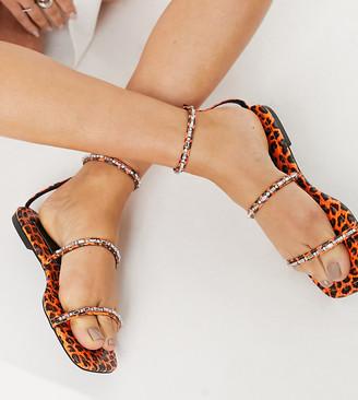ASOS DESIGN Wide Fit Fuchsia embellished flat sandals in bright orange leopard