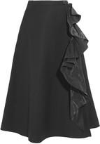 Tome Ruffled taffeta-trimmed cotton-blend skirt