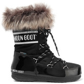 Moon Boot Monaco Faux Fur-trimmed Shell-piqué And Faux Patent-leather Snow Boots - Black
