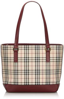 Burberry Pre-Loved Brown Beige Nylon Fabric House Check Tote Bag United Kingdom