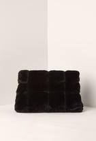 Missguided Black Faux Fur Roll Top Clutch Bag