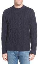 Schott NYC Men's Regular Fit Cable Knit Crewneck Wool Blend Sweater