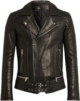 Balmain Quilted-panel leather biker jacket