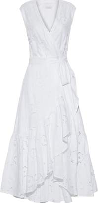 Rebecca Taylor Broderie Anglaise Linen Midi Wrap Dress