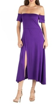 24seven Comfort Apparel Off Shoulder Soft Flare Midi Dress with Side Slit
