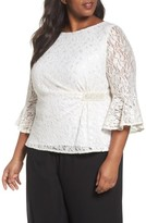 Alex Evenings Plus Size Women's Embellished Side Lace Blouse