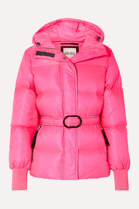 Kenzo Hooded Quilted Neon Shell Down Jacket - Bright pink