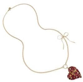 Betsey Johnson Leopard Heart Pendant Long Necklace