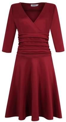Glowsol MISSKY Women Sexy V-neck Empire Tunic Ruched Waist 3/4 Sleeve Slim Dress Wine M