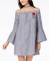 Ultra Flirt Juniors' Striped Embroidered Off-The-Shoulder Shift Dress