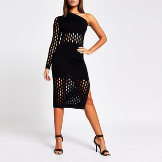 River Island Black mesh one shoulder knitted midi dress