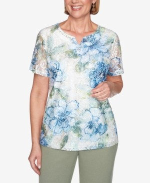 Alfred Dunner Plus Size Short Sleeve Textured Lace Front Floral Knit Top