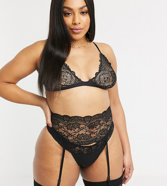 Ann Summers curve bow back lace up suspender set in black