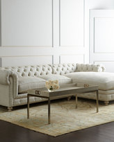 Horchow Warner Linen Right-Chaise Sectional Sofa