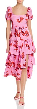 LIKELY Lottie Puff-Sleeve Midi Dress