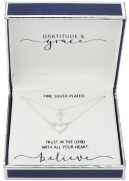 """Unwritten Gratitude & Grace Cubic Zirconia Heart and Cross Layered Pendant Necklace in Fine Silver-Plate, 16"""" + 2"""" extender"""