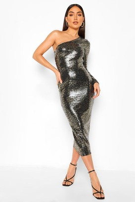 boohoo Leopard Sequin one Shoulder Midaxi Dress