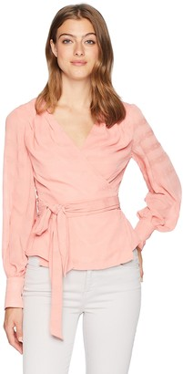 Finders Keepers findersKEEPERS Women's Rio Long Sleeve V Neck WRAP TOP