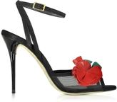 Oscar de la Renta Black Carnation Suede Olive Sandal
