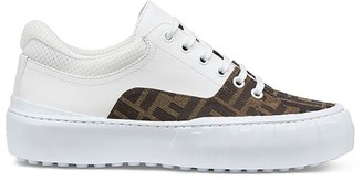 Fendi Brown Fabric And Leather Low Tops
