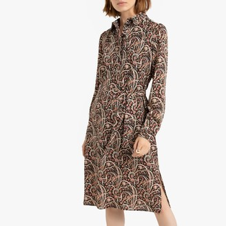 See U Soon Paisley Print Midi Shirt Dress with Long Tie-Sleeves