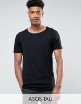 Asos Tall Longline T-shirt With Scoop Neck In Black