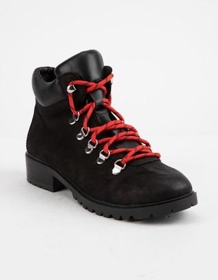 Steve Madden Lora Black Patent Womens Combat Boots