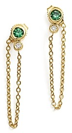 Bloomingdale's Emerald & Diamond Front-to-Back Chain Drop Earrings in 14K Yellow Gold - 100% Exclusive