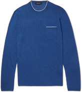 Ermenegildo Zegna Contrast-Tipped Silk and Linen-Blend Sweater