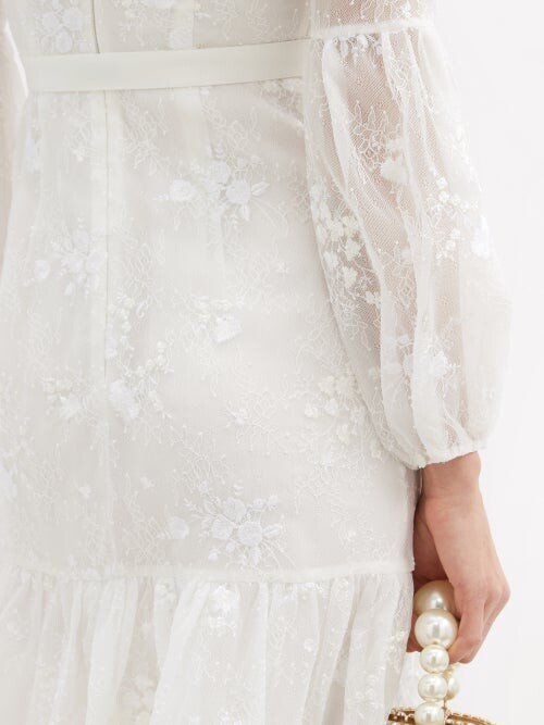 Thumbnail for your product : Erdem Sandra Floral-embroidered Lace Midi Dress - White