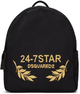 DSQUARED2 Black Canvas Embroidered Backpack