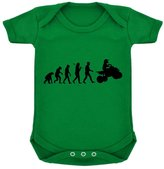 1StopShops Evolution of Quad Biking Baby Bodysuit Emerald with Black Print