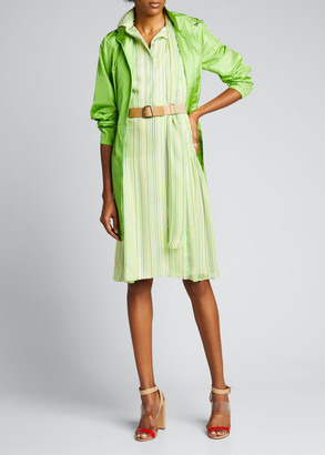 Akris Striped Sleeveless Silk Chiffon Dress