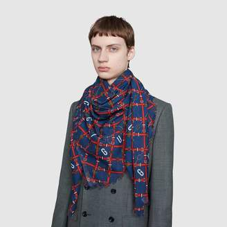 Gucci Wool shawl with checkerboard belts print