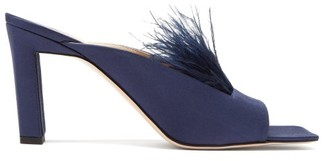 Wandler Isa Square-toe Feathered Satin Mules - Womens - Navy