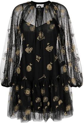 Ermanno Ermanno Embroidered Sheer Dress