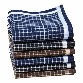 Houlife Mens Handkerchiefs 100% Cotton 60S Classic Tartan Checkered Pattern Coloured Plaid Hankies for Dad Grandad Father's Day Gift 6/12 Pieces 43x43cm