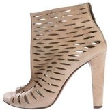 Diane von Furstenberg Laser Cut Peep-Toe Ankle Booties