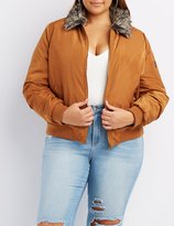 Charlotte Russe Plus Size Faux Fur Collar Bomber Jacket