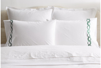 Hamburg House Set of 2 Wheat Pillowcases - White/Green Standard