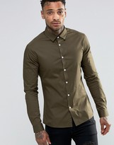 Asos Skinny Shirt In Dark Khaki With Long Sleeves